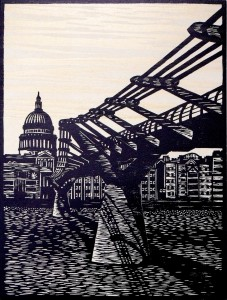 St Pauls & Millennium Bridge, London. woodcut