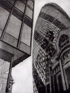 Looking up, City of London. Etching 29.5 x 22.5cm